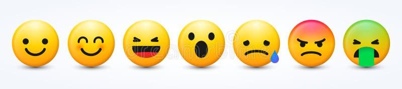 3D Ontwerp Vector Nieuwe Moderne die Emoticons met Verschillende Reacties voor Sociaal Netwerk wordt geplaatst stock illustratie