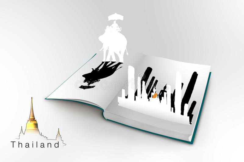 3D open book with thailand stock illustration