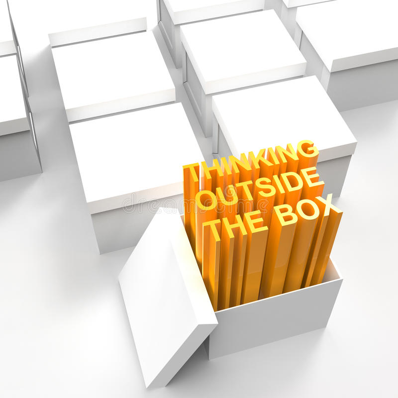 3d open box with extrude text. As thinking outside the box concept royalty free illustration