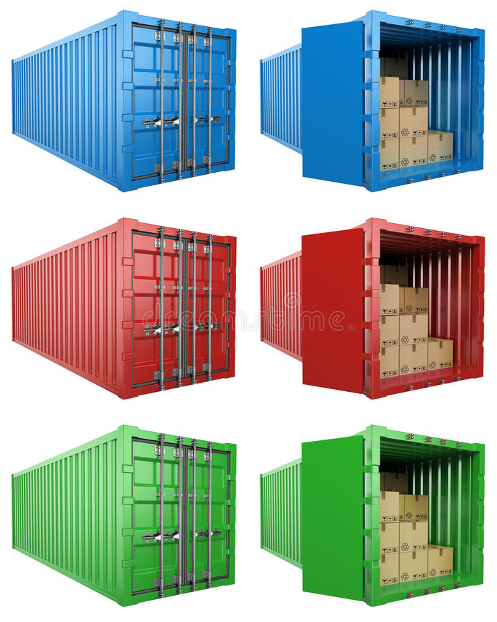 3D Open and close container with cardboard boxes royalty free illustration