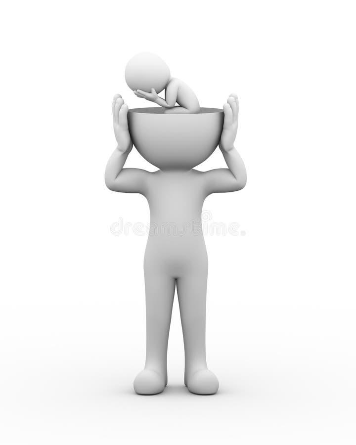 3d open head depressed sad person stock illustration