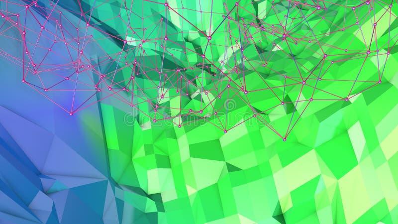 3d oppervlakte als 3d lage poly abstracte geometrische achtergrond met moderne gradiëntkleuren, blauwgroene 25 stock foto