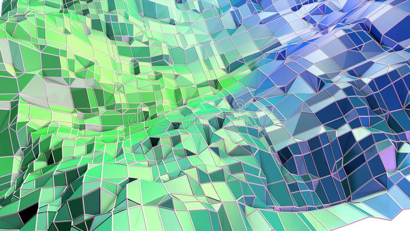 3d oppervlakte als 3d lage poly abstracte geometrische achtergrond met moderne gradiëntkleuren, blauwgroene 24 stock illustratie