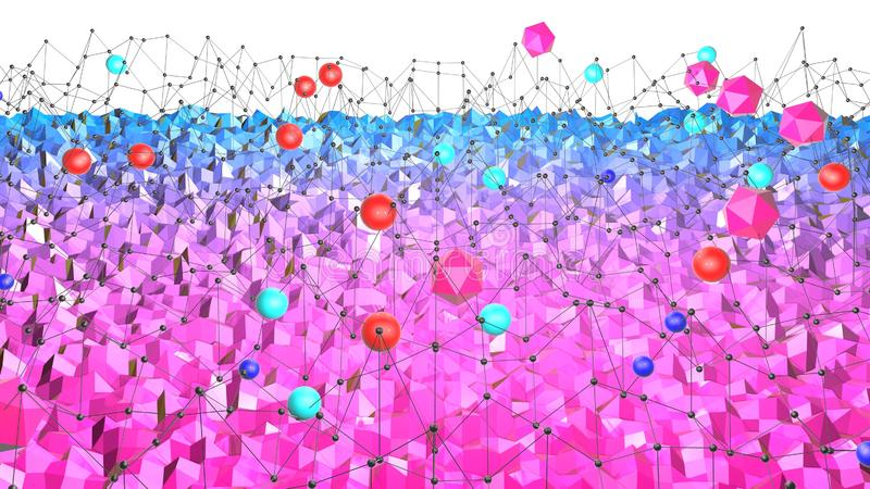 3d oppervlakte als 3d lage poly abstracte geometrische achtergrond met moderne gradiëntkleuren, rood blauw viooltje, en met 3d royalty-vrije stock foto
