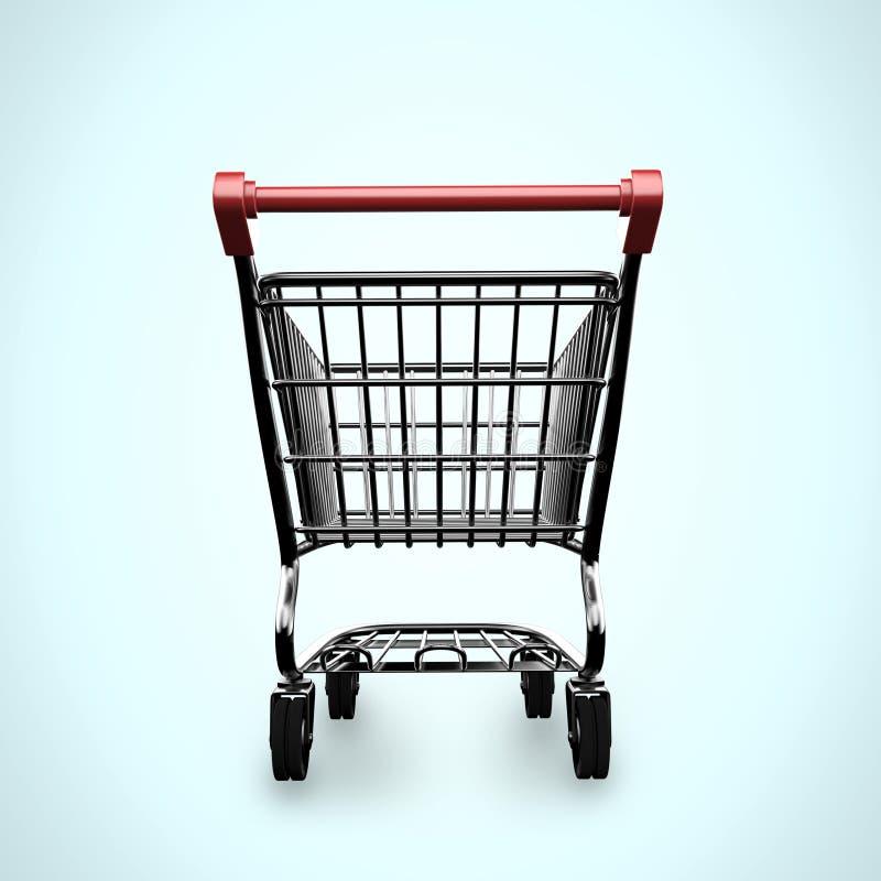 3D opróżniają wózek na zakupy tylni widok royalty ilustracja