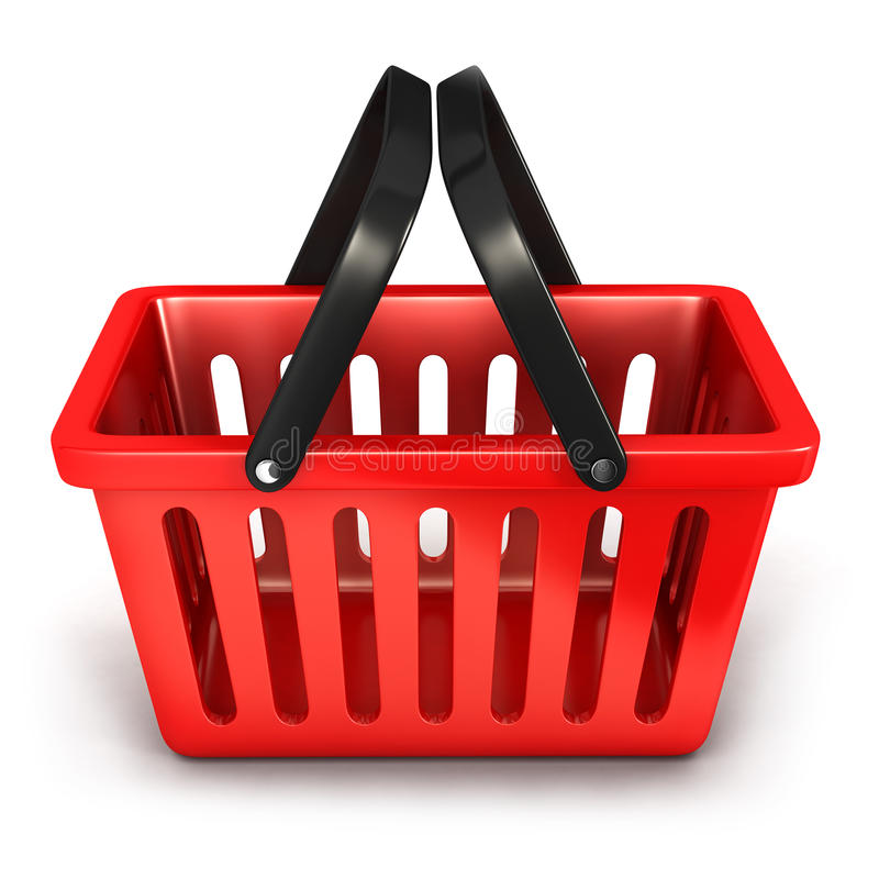 3d opróżniają zakupy kosz ilustracja wektor