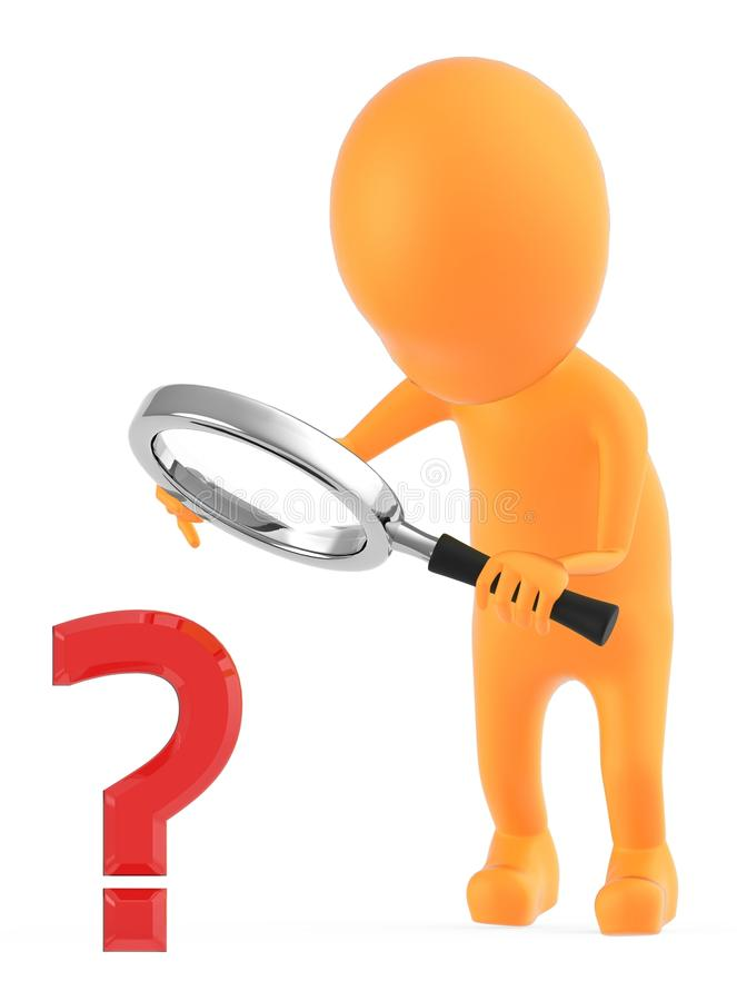 3d orange character examining a question mark sign through a magnifier which the character is holding on his hands stock illustration