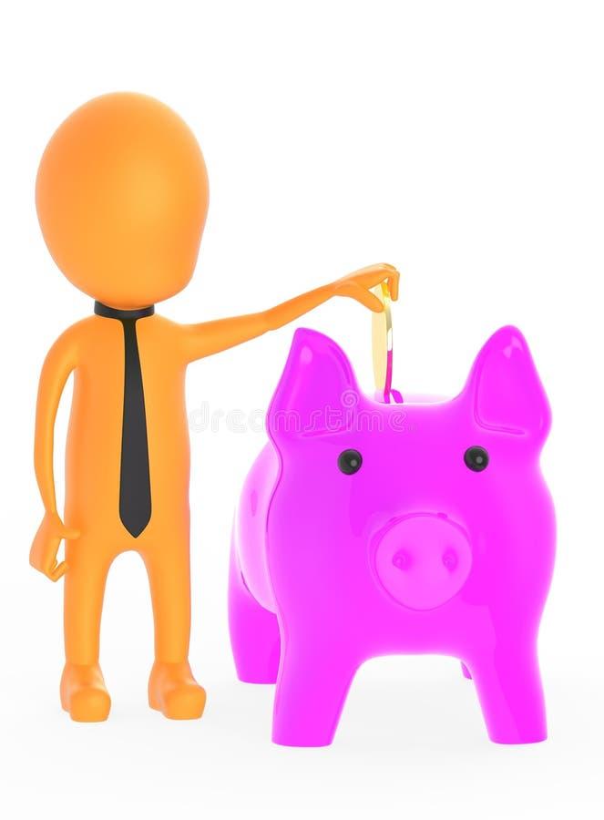 3d orange character inserting golden coin to piggy bank stock illustration