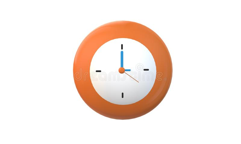 3D Orange clock isolated on white background. vector illustration