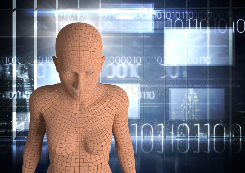 3D orange kvinnlig AI mot fönster med binär kod och signalljus stock illustrationer