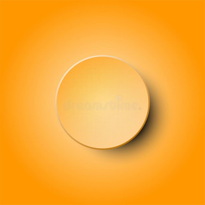 3d oranje halftone cirkeldocument ontwerp op oranje achtergrond voor abstract concept stock illustratie