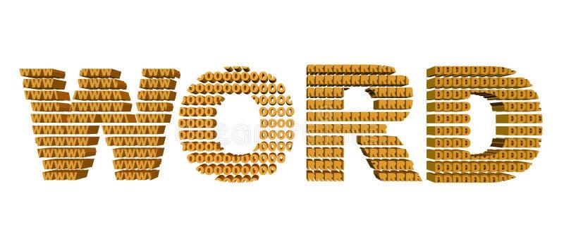 3D oranje kleuren word's tekst; binnen omhoog gemaakt van de brieven w O r D Geïsoleerd op wit stock afbeeldingen