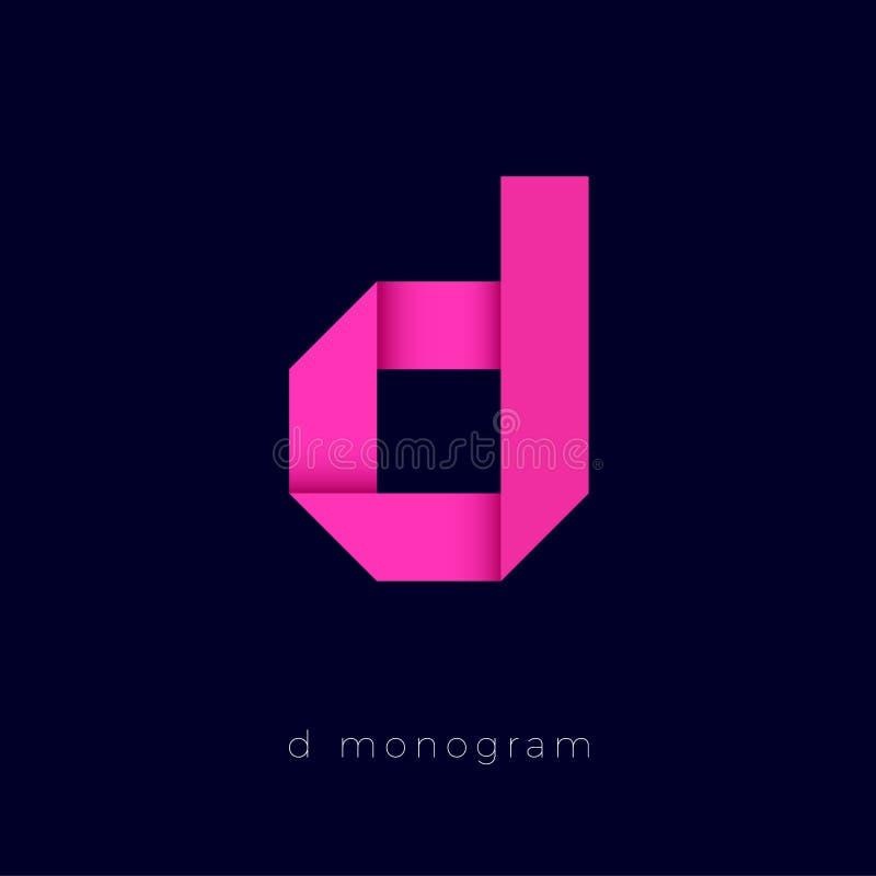 D origami桃红色纸循环的商标 组合图案D商标 在黑暗的背景的信件d 向量例证