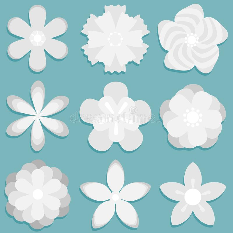 Download 3d Origami Abstract Flower Paper Flowers Set Stock Illustration