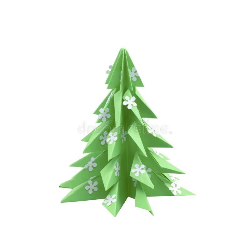 3d origami choinka odizolowywająca na bielu zdjęcie stock