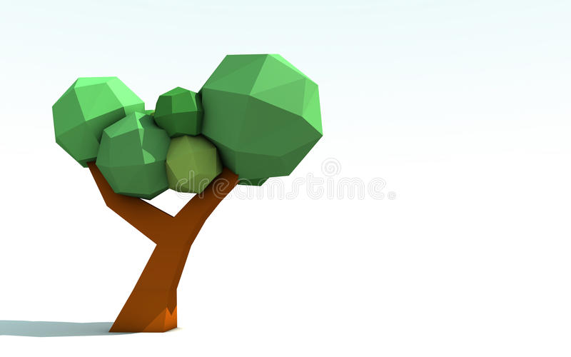 3D Origami Paper Tree royalty free illustration