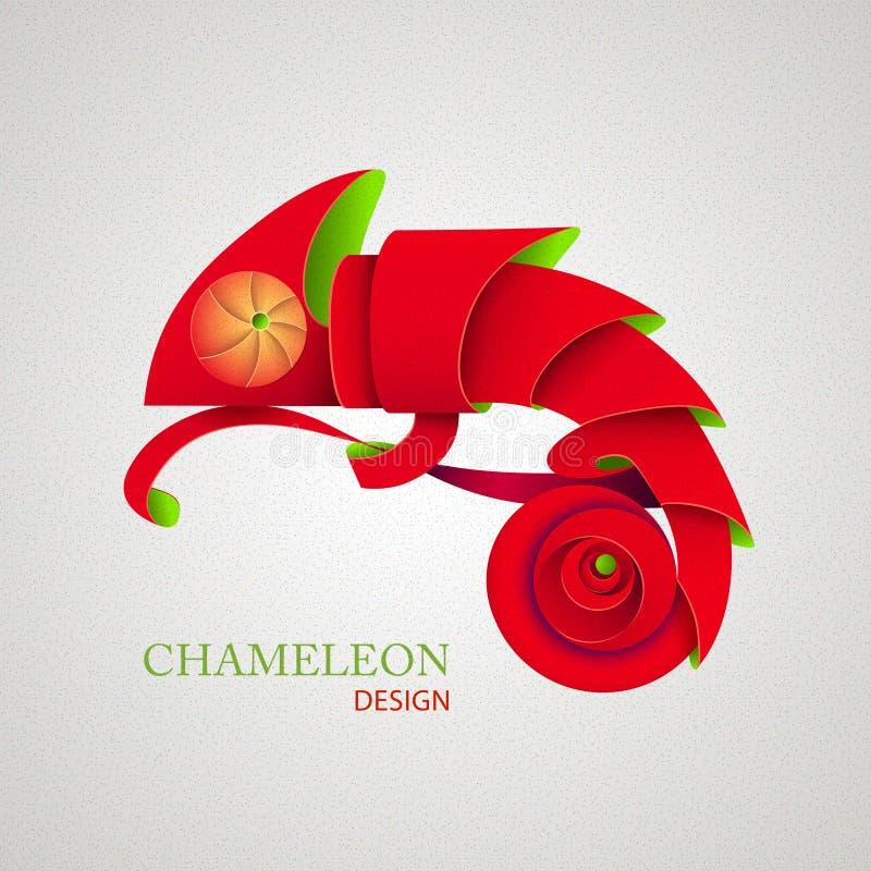 3D Origami sylwetka kameleon ilustracja wektor