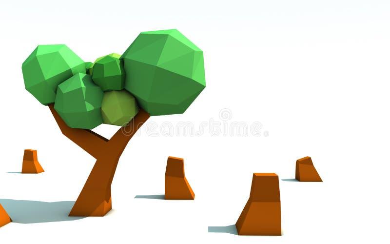 3d Origami Tree Deforestation Stock Illustration ...