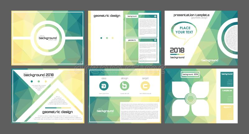 3d origami yellow to green powerpoint presentation templates vectors. royalty free illustration