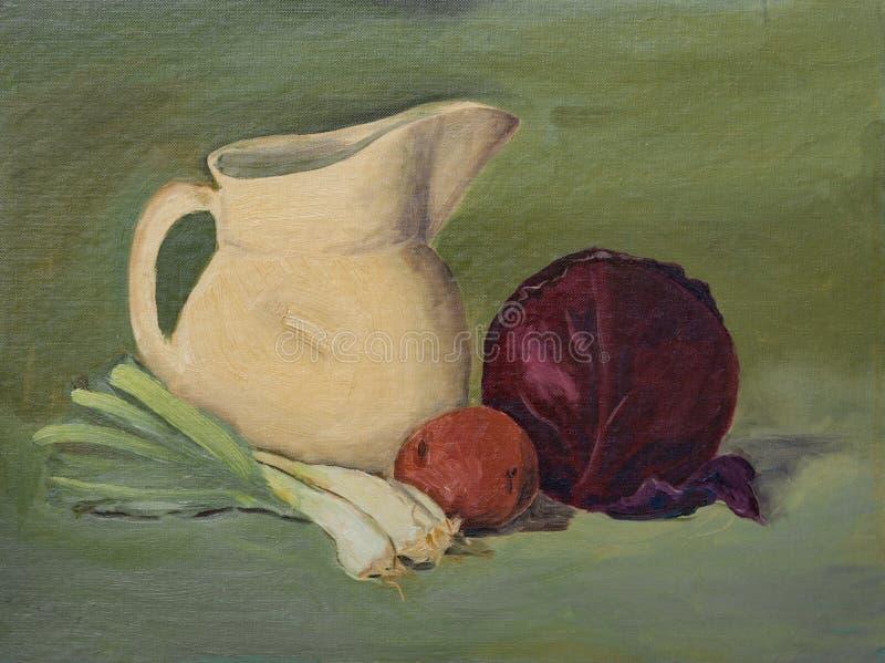 D'original toujours peinture à l'huile de la vie sur la toile : Légumes, lanceur illustration de vecteur