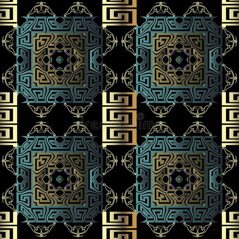 3d ornamental greek vector seamless pattern. Geometric abstract modern background. Vintage arabesque flowers ornaments royalty free stock photo