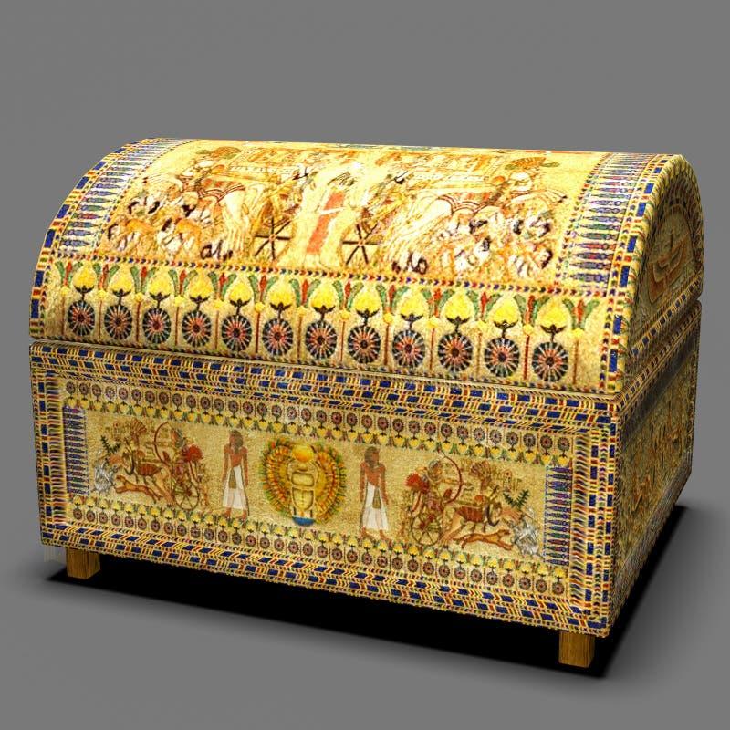 3D Ornate Golden Egyptian Chest ilustracji