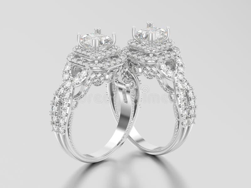 3D oro bianco dell'illustrazione due o decorazione elegante d'argento del solitario royalty illustrazione gratis