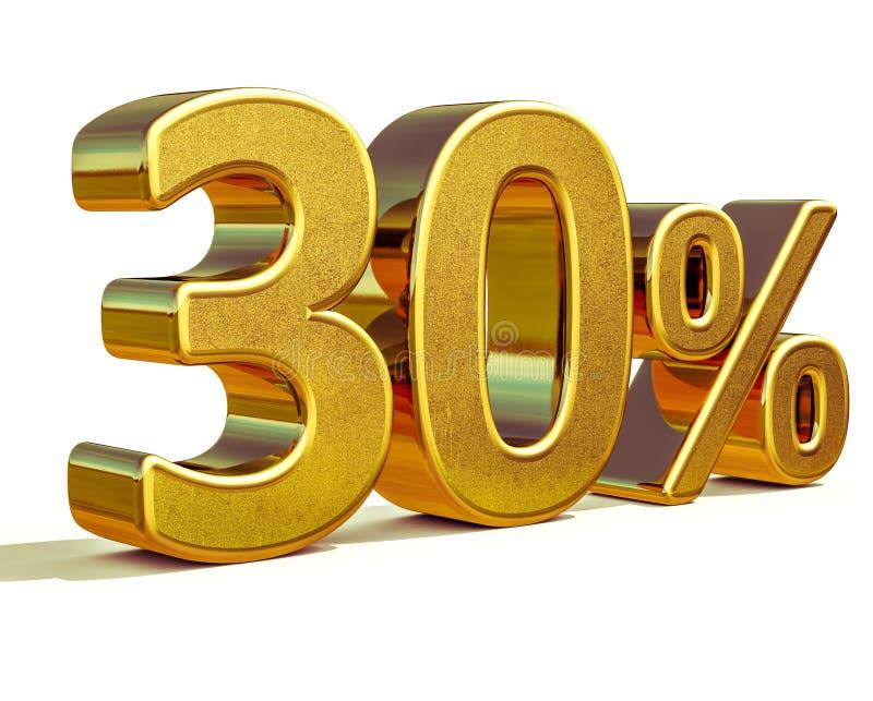 3d oro 30 muestra del descuento del treinta por ciento ilustración del vector