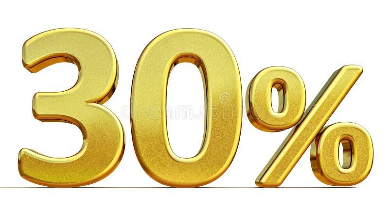 3d oro 30 segno di sconto di trenta per cento illustrazione vettoriale