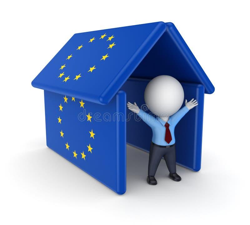 3d osoba pod dachem zrobił od UE flaga. ilustracja wektor