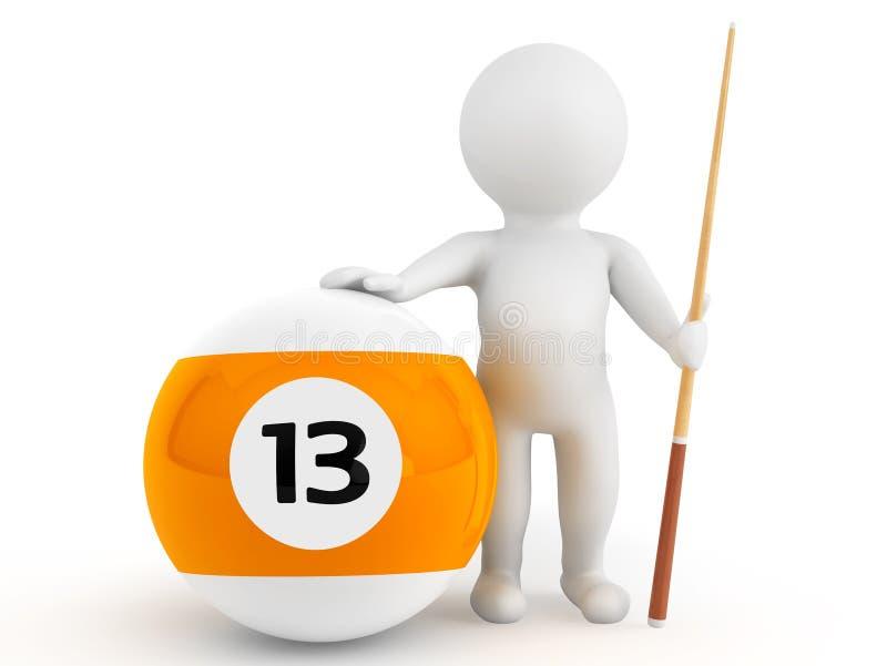 3d osoba z billiards wskazówką i piłką fotografia royalty free