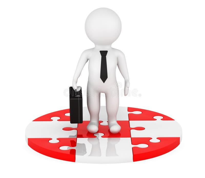 3d osoby biznesmen nad Czerwonymi i białymi okrąg łamigłówkami ilustracja wektor