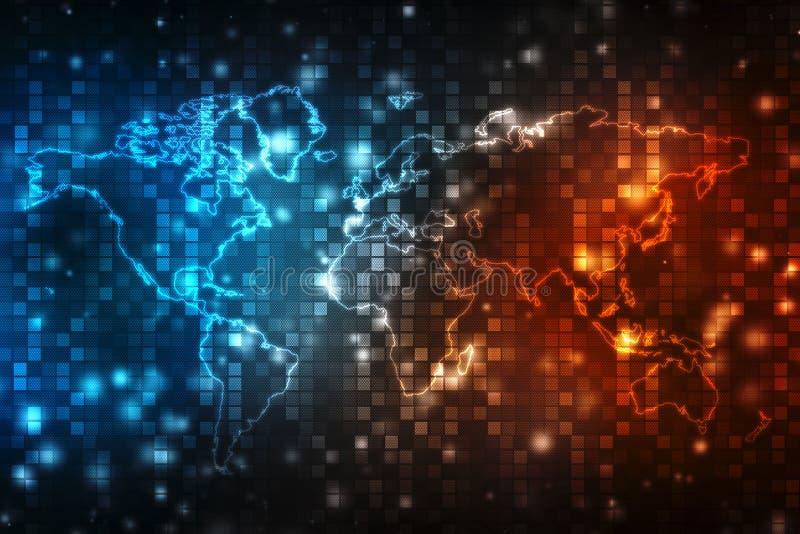 3d osoby runWorld biznesowa mapa i blockchain my przyglądamy się przyglądać się sieć, Globalny Netning w przekładni kołach Biznes ilustracja wektor
