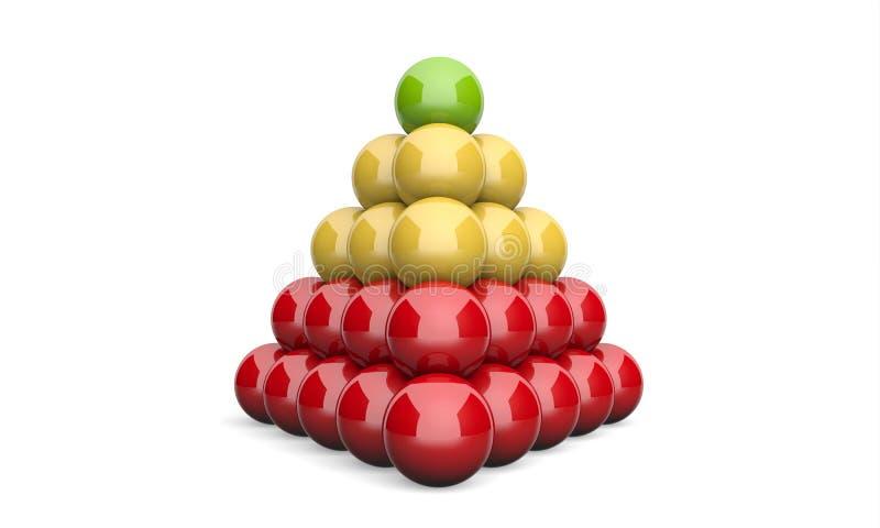 3D ostrosłupa pojęcia Ilustracyjnej balowej zieleni żółta czerwień 2 ilustracji