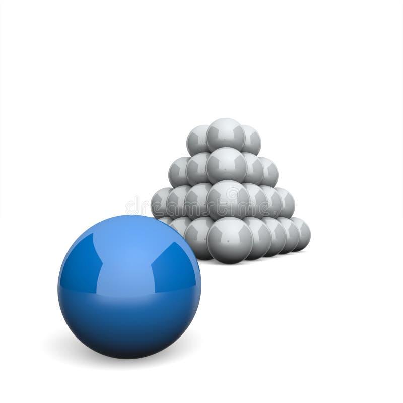 3D ostrosłupa pojęcia Ilustracyjny Balowy błękit 6 ilustracja wektor