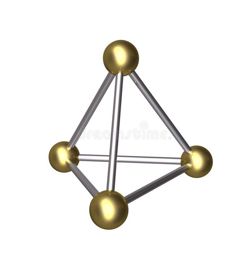 3D ostrosłupa złocista piłka i srebra prącie royalty ilustracja