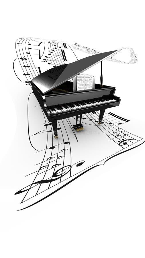 3D otwierał uroczystego pianino na długim latanie rozdziale royalty ilustracja