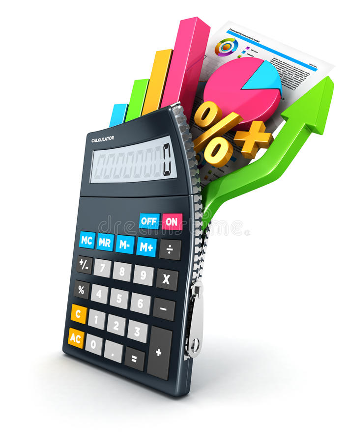 3d otwierają kalkulatora ilustracji