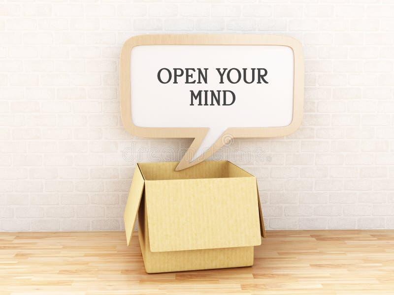 3d Otwierający pudełko i mowa gulgoczemy z Otwartym Twój umysłu tekst royalty ilustracja
