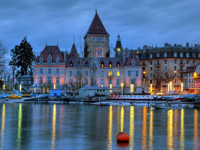 d'Ouchy Chateau, Lausanne, Zwitserland stock foto's