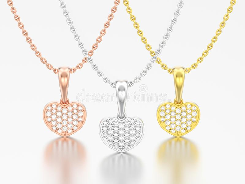 3D ouro branco ou silv do amarelo da rosa do vermelho da joia da ilustração três ilustração stock
