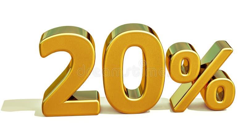 3d ouro 20 sinal de um disconto de vinte por cento fotos de stock royalty free