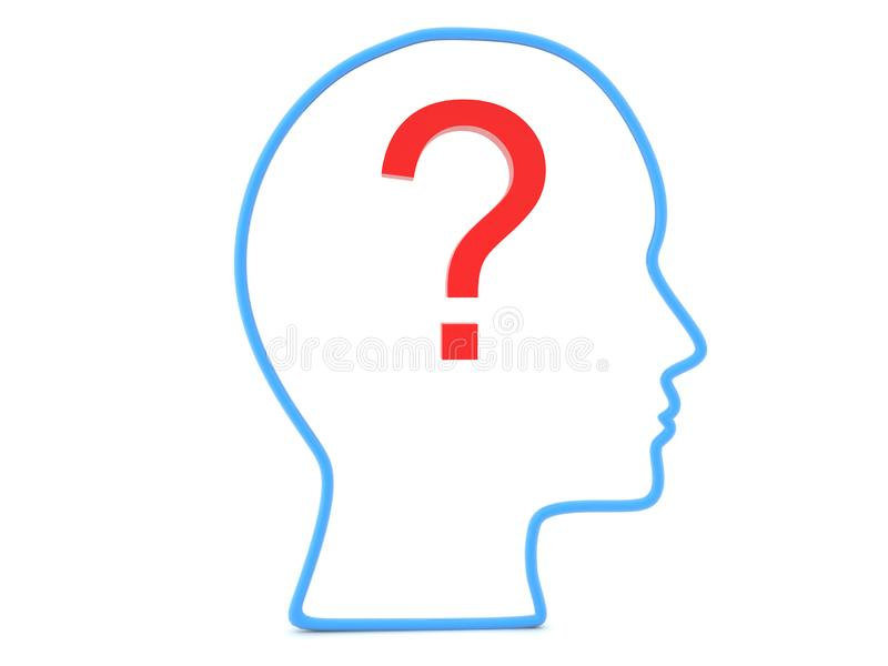 3D Outline of head with question mark inside it royalty free illustration