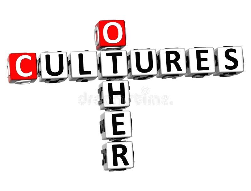 3D outras palavras cruzadas das culturas ilustração do vetor