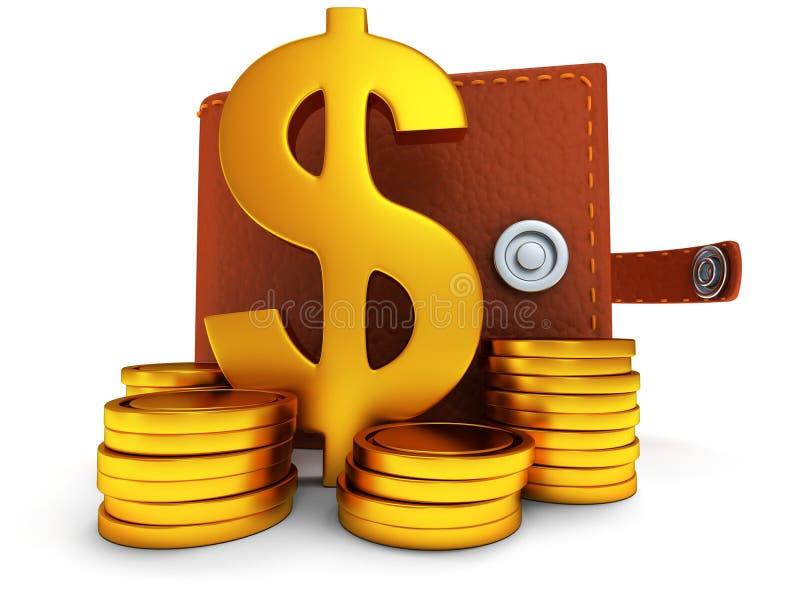 3d ouvrent le portefeuille et le symbole dollar en cuir sur le blanc illustration stock
