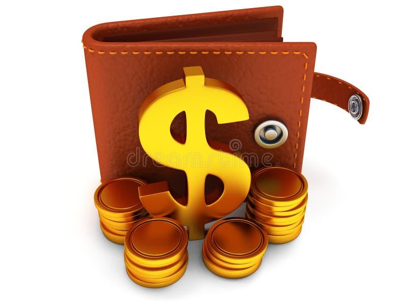 3d ouvrent le portefeuille et le symbole dollar en cuir sur le blanc illustration de vecteur