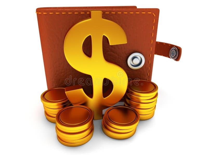 3d ouvrent le portefeuille et le symbole dollar en cuir sur le blanc illustration libre de droits