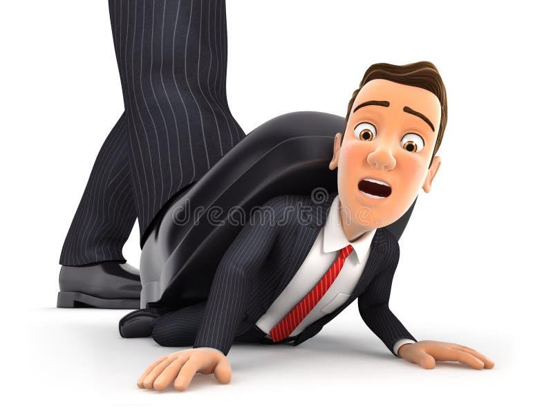3d pé grande que esmaga o homem de negócios ilustração do vetor