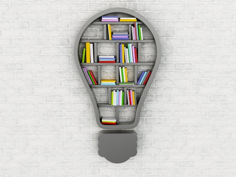 3d półka na książki w formie żarówka ilustracji