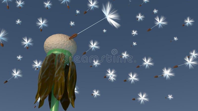 3d Paardebloem - het Laatstgenoemde royalty-vrije illustratie